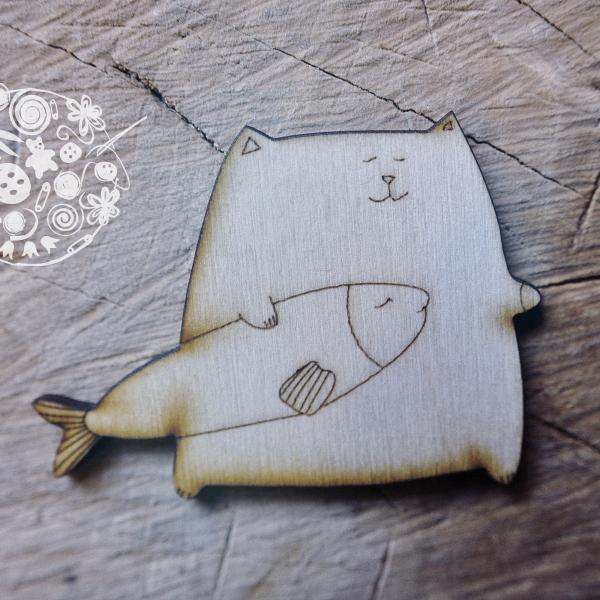Брошка кот и рыба